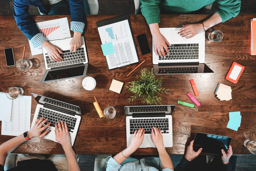 bigstock Top View Of Coworking People S 237254704